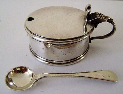 Victorian Condiment Silver Plated Mustard Blue Glass Liner &Spoon Vintage Ornate