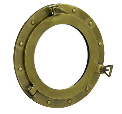 "Vintage 15"" Brass Porthole With Mirror Nautical Maritime Decorative Port Hole"