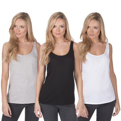 Ladies Womens Jersey Tank Top Vest Plain 2 Pack Sleeveless Simple Scoop Neck New