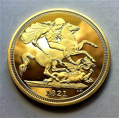 PROOF-LIKE 1821 24k GOLD PLATED 1oz King George IV Five Sovereign BU - COPY COIN