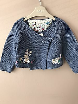 NEXT Baby Girls Knitted Bunny Cardigan 3-6months ⭐️BNWT RRP £12⭐️