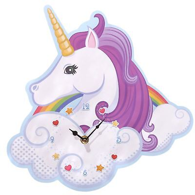 Unicorn Shaped Picture Wall Clock 30cm High Magical Rainbow Wall Hanging