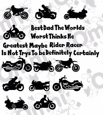 Personalised message Motor Bike Vinyl Sticker Birthday Gift Mug Glass cards