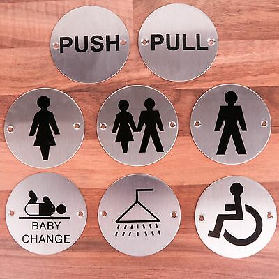 ROUND SILVER DOOR SIGNS Pub Shop Salon Office Business Bathroom/Toilet/WC Sign