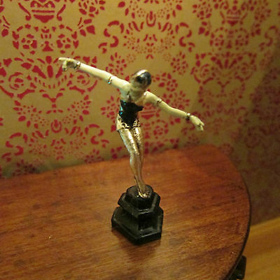 Artisan Bronze figure ~ Art Deco style ornament ~ Dollhouse Miniature ~ 1/12