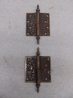 Pair Antique Cast Iron Victorian Gravity Lift Off Door Hinge RH 4x4 497-17R