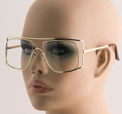 Oversized Semi-Rimless Vintage Clear Lenses Sun Glasses Square Double Gold Frame
