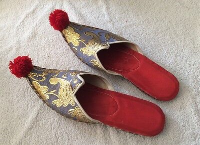Pair Of Vintage Silk And Leather Ethnic Curl Toed Slippers With Pompom Toe