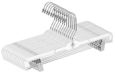 12 Pack Clear Plastic Skirt Pant Clothes Hangers Lot with Metal Clip Utopia Home