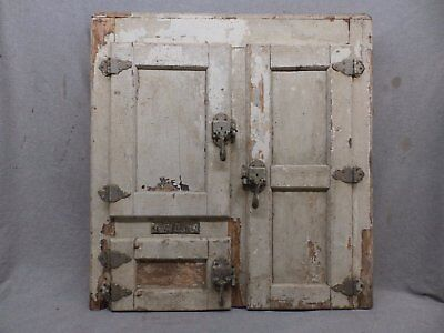 Antique Ice Box Front Medicine Nickel Brass Hinges Shabby Cabinet Chic 499-17R