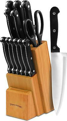 Knife Block Stainless Steel Set 13 Pcs Kitchen Knives Rubberwood Block