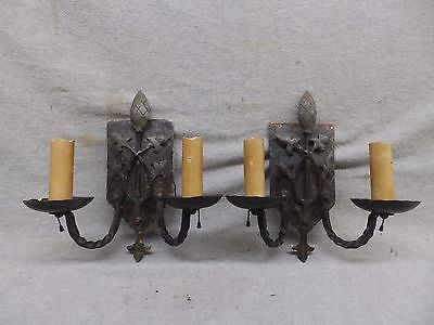 Pair Antique Wrought Iron Gothic Light Fixture Double Candelabra Sconce 506-17R