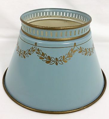 "1 Vtg 10 1/4"" Blue Gold Mid Century Metal Tole Toleware Chimney Lamp Shade Retro"