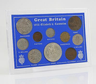 1953 Coronation Coin Set Crown-Farthing 10 Coin Set within Presentation (HZ121)