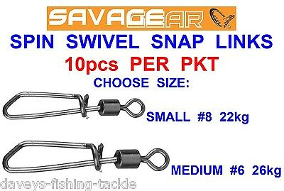 Savage Gear Spin Swivel Snap Links For Sea Coarse Fishing Plugs Spoons Spinners
