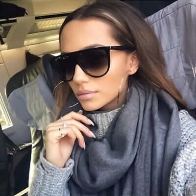 Large Vintage Retro Designer Flat Top Aviator Round Oversized Women Sunglasses
