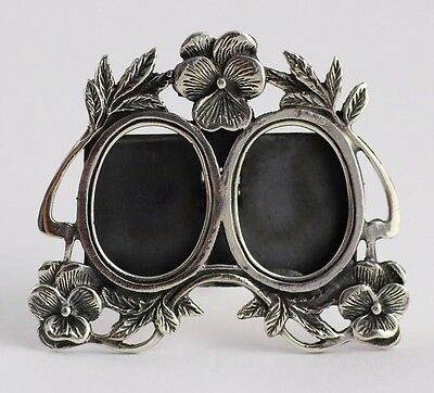 Sterling Silver Art Nouveau Floral Miniature Style Double Photo Frame