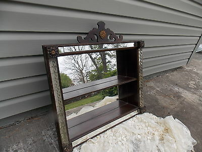 Rare Vintage 1940's Brown & Mirrored Victorian Wall Display Shelf Cabinet
