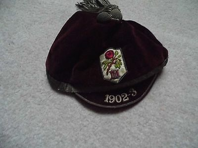 Old sports cap, football, rugby, cricket 1902/03
