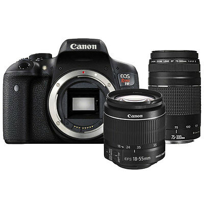 Canon EOS Rebel T6 DSLR Camera with Canon EF-S 18-55mm IS II + EF 75-300mm Lens