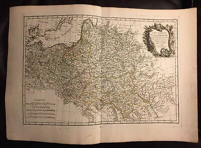 RARE Large 1771 POLAND LITHUANIA COLOR MAP Prussia Baltic RIZZI ZANNONI Litauen