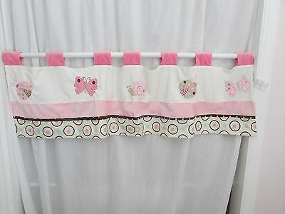 Nojo White Pink Brown Blue Ladybug Lullaby Circle Snail Window Valance Butterfly