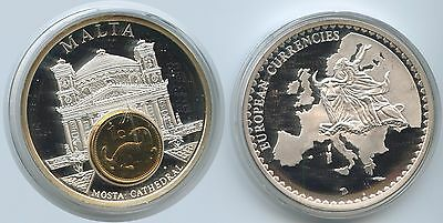 GY492 Große Medaille Malta mit 1 Cent1998 European Currencies Mosta Cathedral