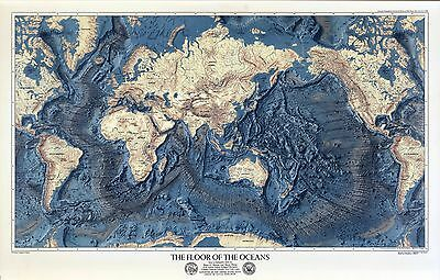 1976 Floor of the Oceans and Land Relief World with oceans removed abyssmal 7048