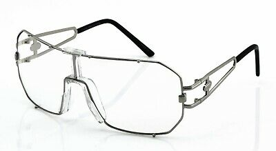 HUGE OVERSIZE VINTAGE RETRO SHIELD Style Clear Lens Eye Glasses Silver Frame New