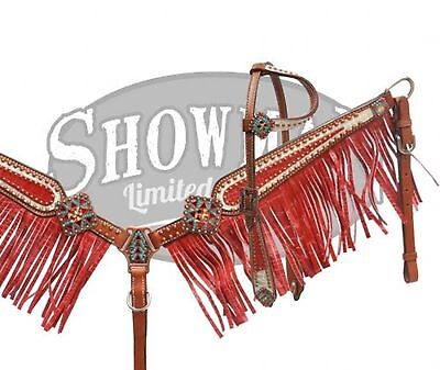 Showman LIMITED EDITION Bejeweled RED Alligator Bridle & Breast Collar Set! TACK
