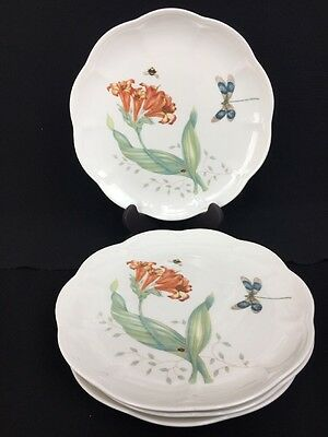 """Set of Four Lenox BUTTERFLY MEADOW Accent Luncheon Plates Dragonfly 9-1/8"""""""