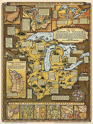 1937 PICTORIAL map Northwest Territory Ohio Michigan Minnesota POSTER 8373000