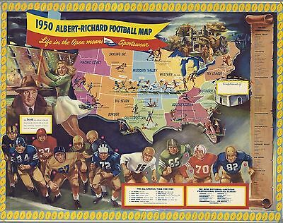 1950 PICTORIAL football map United States college professional teams POSTER 9939