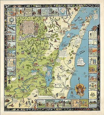 1954 pictorial map Fox River Valley Wisconsin Indian trails roads POSTER 8870
