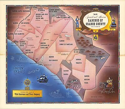 1955 PICTORIAL Map Old Spanish Ranchos Orange County California POSTER 9626