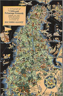 1940 pictorial map San Mateo County CA Charm Beauty is Found POSTER 8822003