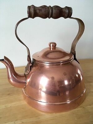 Vintage Tagus Portugal R-51 Copper Gooseneck Teapot Tea Kettle With Wood Handle