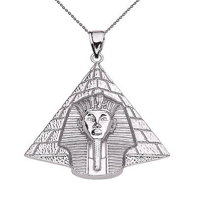 Sterling Silver Egyptian Pyramid With King Tutankhamun Pendant Necklace
