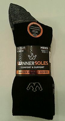 Mens Nwt 3 Pair Winnersoles Copper Infused Crew Socks Shoe Size 6-12 Black