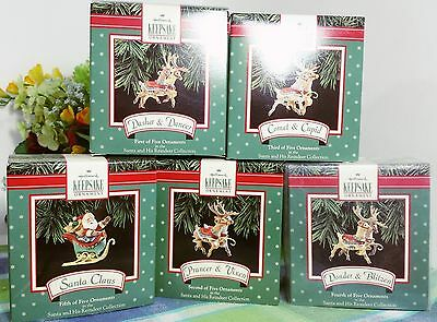 Hallmark Santa Reindeer 1992 set of 5 ornaments