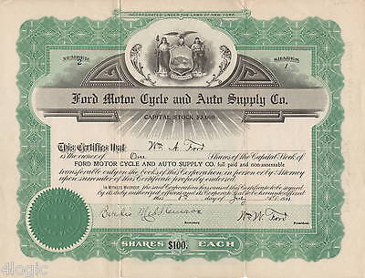 FORD MOTOR CYCLE AND AUTO SUPPLY COMPANY 1911 Signed by both William W&A  Ford