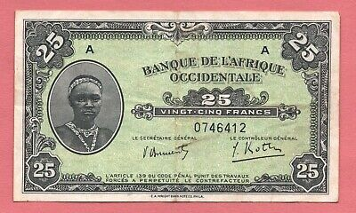 1942 FRENCH WEST AFRICA 25 FRANC PIC# 30a FINE