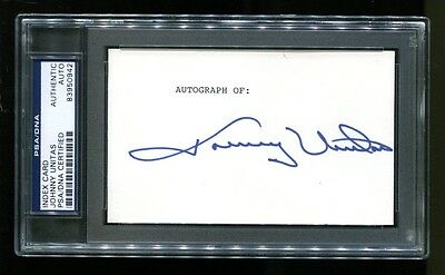 Johnny Unitas Signed Index Card 3x5 Autographed Colts PSA/DNA 83950942