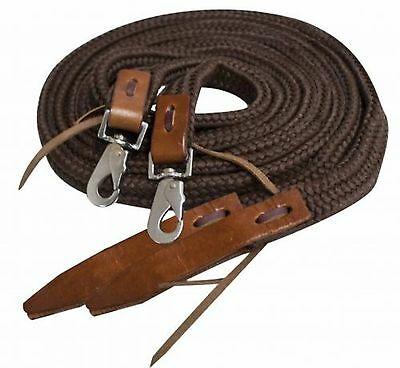 Showman 8 ft BROWN Flat Braided Nylon Reins W/ Leather Popper Ends! HORSE TACK!