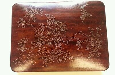Chinese Wood Box with Fine Sterling inlays of flowers and a bird