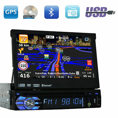 Single 1 Din Car Radio Touchscreen GPS SAT NAV Bluetooth CD DVD Player Stereo