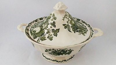 Mason's Fruit Basket Green Round Covered Vegetable Bowl - Imperfect