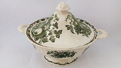 Masons Fruit Basket Green Round Covered Vegetable Bowl - Imperfect