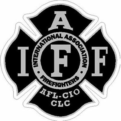 4 Inch Reflective IAFF Black Firefighter Maltese Cross Firefighter Sticker