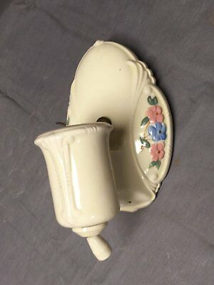 Vtg Ceramic Ivory Porcelain Wall Sconce Pink Blue Floral Light Fixture 283-17E